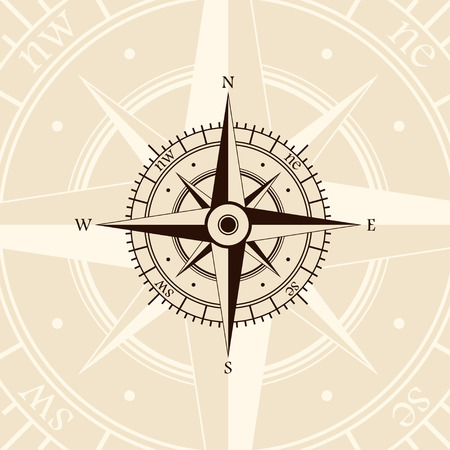 light brown background: Brown wind rose isolated on light background Illustration
