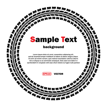 skidding: Circle tire track silhouette with sample text Illustration