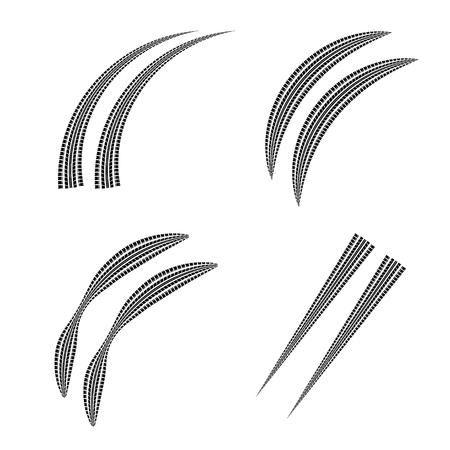 Set of four black tire track silhouettes Illustration
