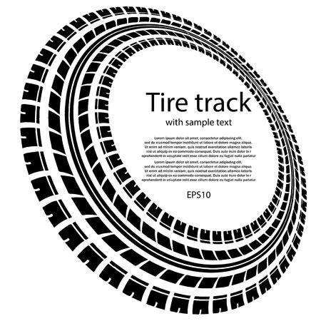 White background with black tire track and text Illustration