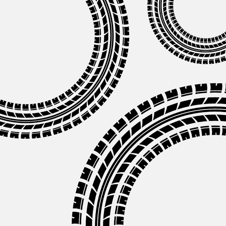 skidding: Gray background with three circles tire track