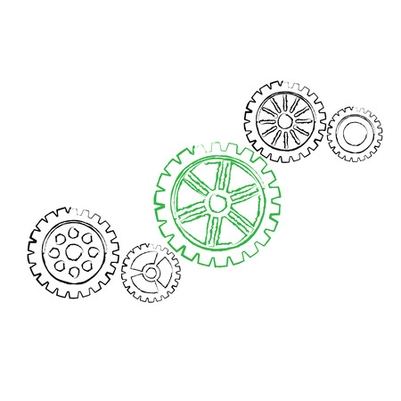 small group of objects: Four black grunge gears and one green