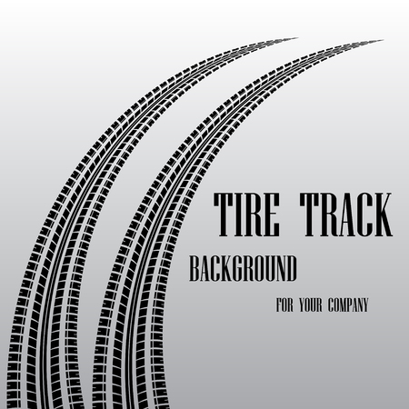 skidding: Tire track background with sample text Illustration