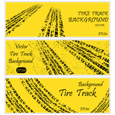 skidding: Set of three yellow tire track banners