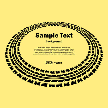skidding: Black tire track silhouette on yellow background Illustration