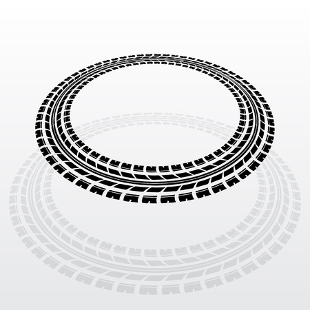 car tracks: Black tire track silhouette in circle form
