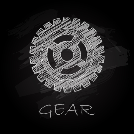 small group of objects: Scribble charcoal gear silhouette on black background Illustration