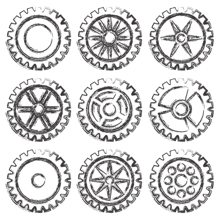 small group of objects: Set of nine black gears different forms