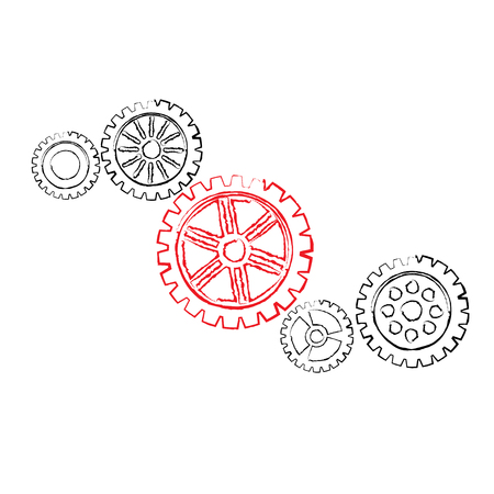 small group of objects: Some black gears with one red