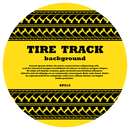 Black tire track with sample text on yellow circle