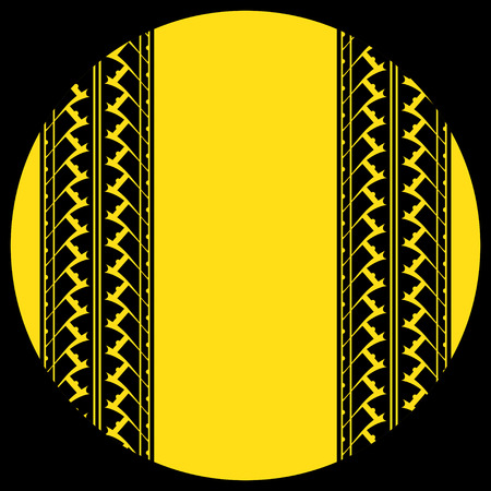 skidding: Black background with yellow circle and tire tracks
