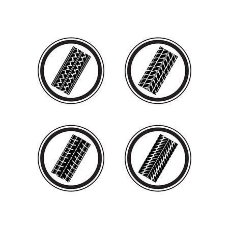 skidding: Set of four black tire track samles