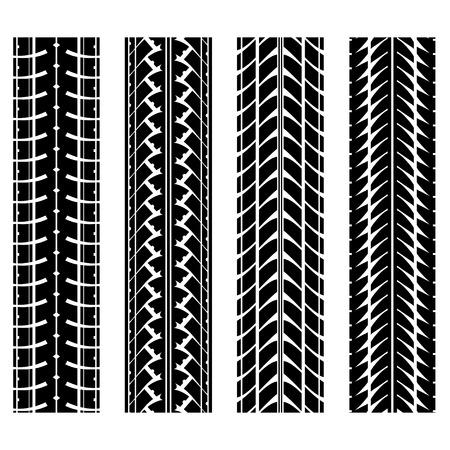 skidding: Set of four black tire track silhouettes Illustration
