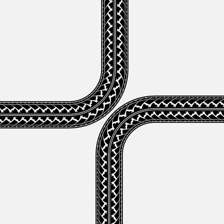 skidding: Black tire tracks in cross form on white Illustration