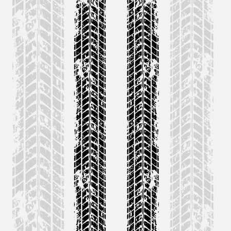 Black tire track with shadow on gray background