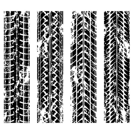 tires: Set of four grunge tire track silhouettes Illustration
