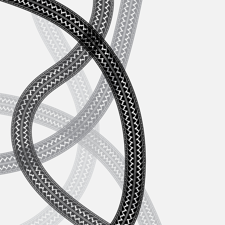 tires: Black and gray tire tracks on white background Illustration