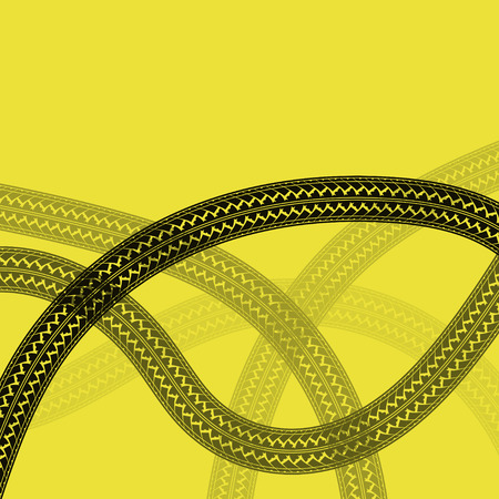 Yellow background with black tire tracks