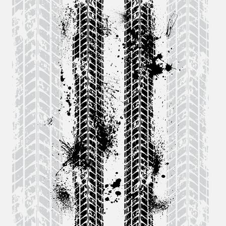 huellas de llantas: silueta de la pista del neumático del grunge con la sombra
