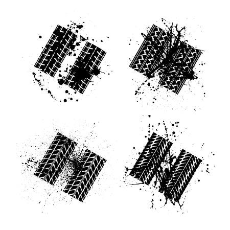 skidding: Set of four grunge tire tracks