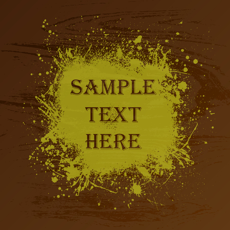 ink blots: Brown wood texture with ink blots and text
