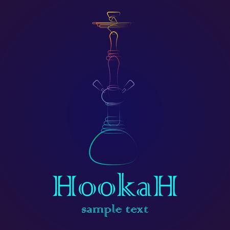 hookah: Big hookah silhouette with color gradient on dark background Illustration