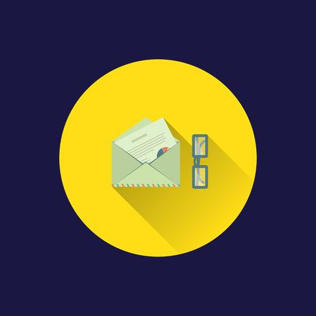 envelop: Dark background with flat envelop and letter. Illustration