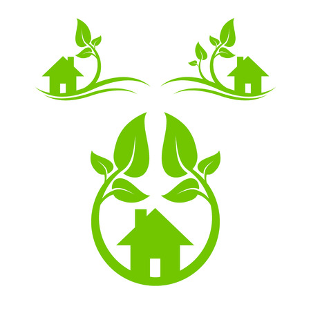 conservation: Abstract symbol of green house with leaves.