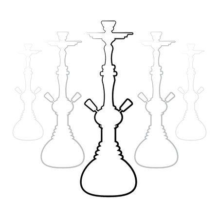tobacco product: Dark hookah silhouettes on white background. Illustration