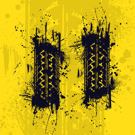 skidding: Black grunge tire track with ink splash on yellow background.