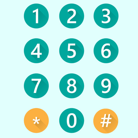 numbers: Set of white flat numbers with shadows.