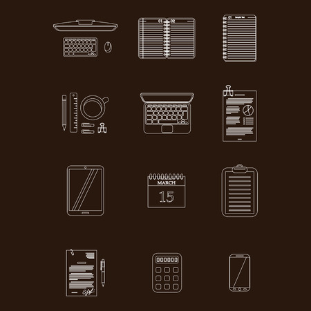 organized group: White stroke worktable icons isolated on dark background.