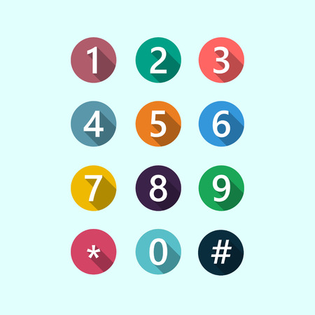 Set of circles different colors with numbers. Illustration