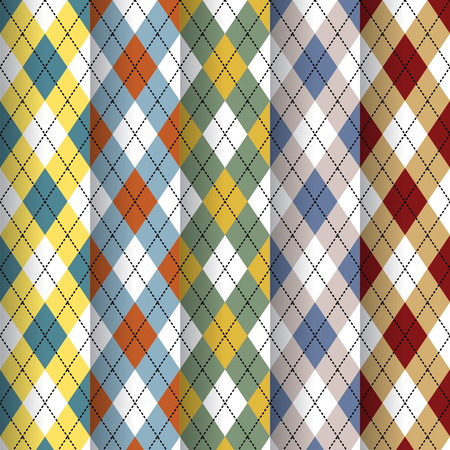 patterns and colors: Seamless Scottish design patterns different colors. Illustration