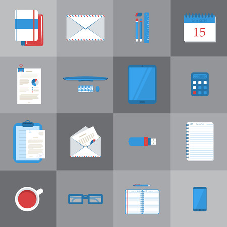 business work: Set of different student or business work table icons. Illustration