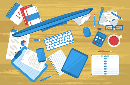 organized group: Background with many things of students work table.