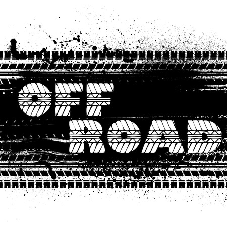 tire imprint: Black tire tracks with grunge blots and sample text.