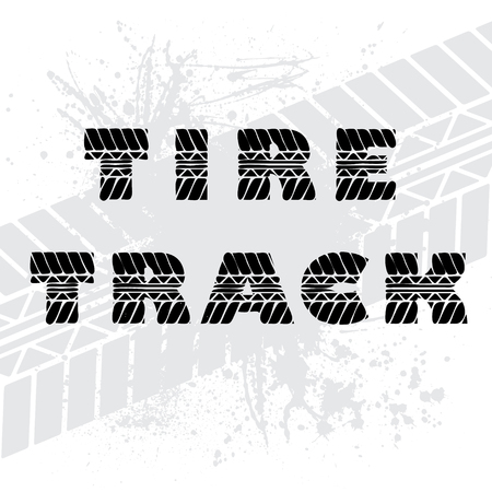 tire imprint: Gray background with black tire track text. Illustration