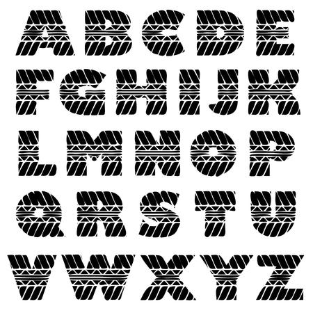 alfabeto grunge negro en formas pista del neumático.