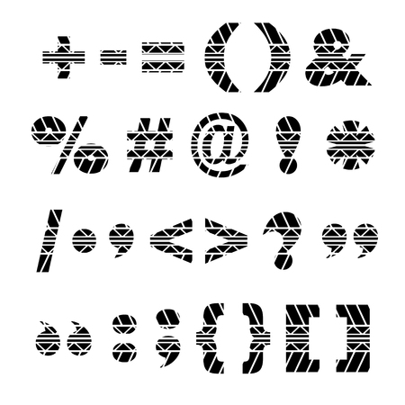 tire imprint: Black symbols in tire track forms isolated on white. Illustration
