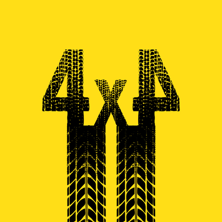 tire imprint: Yellow background with black tire track silhouette. Illustration
