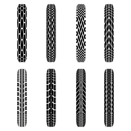 tire imprint: Set of eight black byke tire tracks isolated on white background Illustration