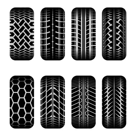 car tire: Set of eight black car tire tracks with shadow