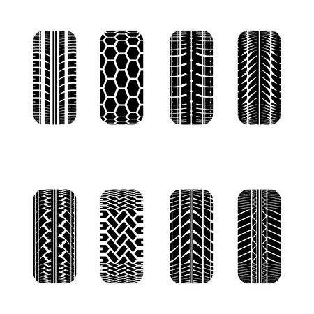 tire track: Set of eight cars black tire track silhouettes isolated on white Illustration