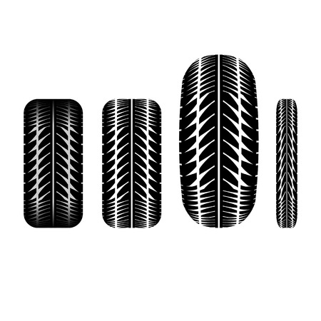 tire imprint: Set of four tire tracks isolated on white background