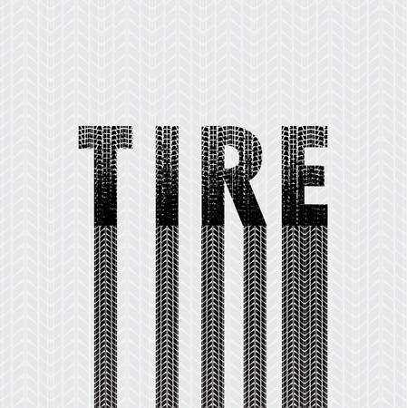 tire imprint: Black grunge letters with tire track silhouettes isolated on gray background Illustration
