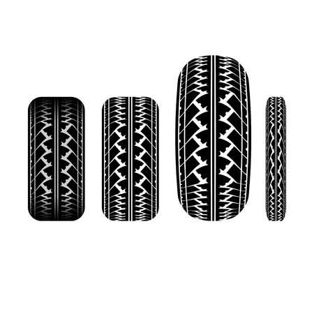 tire imprint: Set of different tire track silhouettes isolated on white background