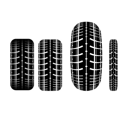tire track: Set of four tire track silhouette isolated on white