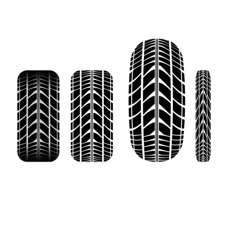 tire imprint: Set of four different tire tracks isolated