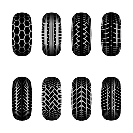 tire imprint: Set of truck tire tracks with shadows
